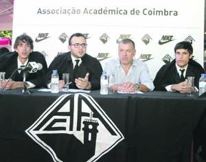 Jonathan Torres, Bruno Matias, José Monteiro e Sérgio Pereira na apresentação do novo parceiro. FOTO LUÍS CARREGÃ
