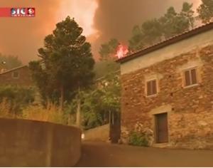 Imagem da SIC Notícias do fogo desta segunda-feira