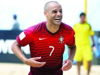 Portugal's player Madjer celebrates a goal against Argentina during the FIFA Beach Soccer World Cup Portugal 2015 group A between Portugal and Argentina at Espinho stadium, in Espinho, North of Portugal, 13 July 2015. ESTELA SILVA/LUSA