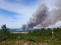 Onze meios aéreos combatem fogo em Quiaios