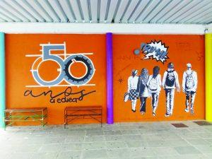 Arganil: Mural pintado por alunas assinala os 50 anos da escola