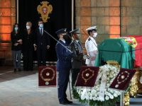 Widow of former President Maria Jose Ritta accompanied by her sons Vera and Andre  during the funeral service for the late Portuguese President Jorge Sampaio at Belem Palace`s Royal Arena, Portugal, 11 september 2021. Jorge Sampaio, former secretary-general of the PS (1989/1992) and two-term President of the Republic (1996/2006), died on Friday, at the age of 81, at Santa Cruz Hospital, in Lisbon, where he had been hospitalized since August 27, following respiratory difficulties.  MIGUEL A LOPES/LUSA