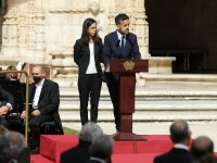 The sons of the Prrsident, Vera and Andre Sampaio, during the funeral service for the late Portuguese President Jorge Sampaio at Jeronimos Monastery, Portugal, 12 september 2021. Jorge Sampaio, former secretary-general of the PS (1989/1992) and two-term President of the Republic (1996/2006), died on Friday, at the age of 81, at Santa Cruz Hospital, in Lisbon, where he had been hospitalized since August 27, following respiratory difficulties. MIGUEL A. LOPES//LUSA