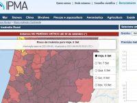 Mais de 100 concelhos de 14 distritos em risco máximo de incêndio